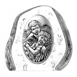Przycisk skałka kryształowa aniołki na Chrzest (04106)