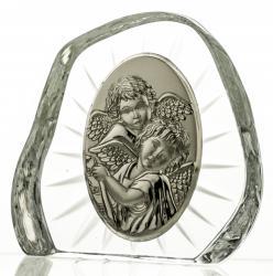 Przycisk kryształowy z aniołkami na Chrzest (07250)