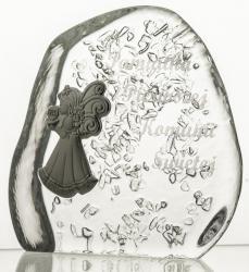 Komunia przycisk kryształowy z grawerem dla dziewczynki (13990)