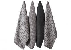 Ladelle Honeycomb Charcoal komplet 4 ręczników kuchennych z mikrofibry L32924