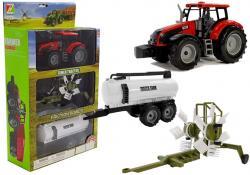 Traktor z Przyczepką, Zgrabiarką i Cysterną Czerwony
