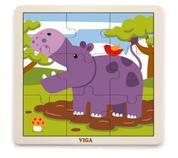 Viga 51443 Puzzle na podkładce 9 elementów - hipopotam