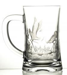 Kufel grawerowany do piwa żurawie kryształowy (05954)