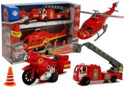 Zestaw Pojazdów Straż Pożarna Helikopter Motor Światło Dźwięki
