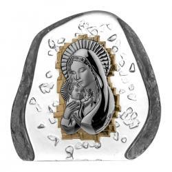 Przycisk skałka Madonna z dzieciątkiem kryształ 03820