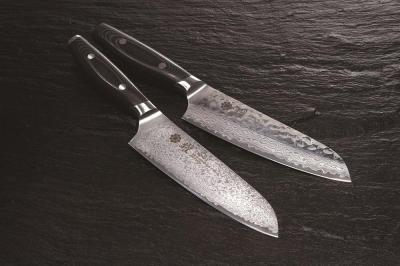 YAXELL YO-U 37 Damascus Hammered VG10 Santoku 165mm
