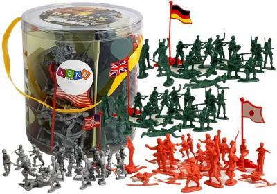 Duży Zestaw Militarny Wojskowy 100 elementów Żołnierze Flagi